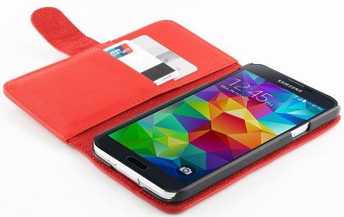 JAMMYLIZARD | Lederhülle für Samsung Galaxy S5 / S5 Neo / S5 Plus Ledertasche [ Wallet Tasche Series ] Leder Book Case Hülle Flip Cover Schutzhülle mit Kartenfach, Rot