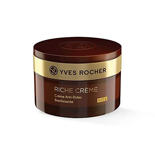 Anti-falten-intensive Night Cream (Yves Rocher RICHE CRÈME Antifalten Verwöhn-Nachtpflege, Gesichtscreme Nacht, für reife Haut, 1 x Glas-Tiegel 50 ml)