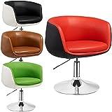 Taburete de bar Herbert - sillon de salón - Butaca retro - altura regulable - diferentes colores - Silla giratoria de 360° (Rojo - Negro)
