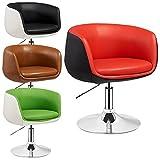 Lounge Sessel Herbert - 2 farbig - höhenverstellbar - Clubsessel - Barstuhl - Cocktailsessel - Retro Drehstuhl - viele Farben (Rot - Schwarz)