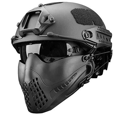 GJBHD Paintball Tactical Quick Helm, Atmungsaktive Faltbare Halbmaske Und UV-Schutzbrille Black