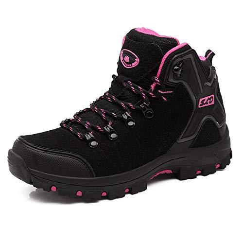 TQGOLD Scarpe da Trekking Uomo Donna,Impermeabile Scarpe da Escursionismo Arrampicata Stivali in Pelle (38 EU,Nero Rosa)