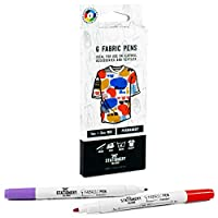 Stationery Island Dual Tip Fabric Pens Pack Of 6 Colours - 1mm And 2mm Nibs. Permanent Washable Fabric Markers With Felt Tips. For Textiles (Inc. T-Shirts, Denim, Cloth Bags And Canvas)