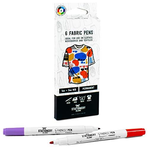 Stationery Island Pennarelli per Tessuti - Colori Permanenti per Tessuti a Doppia Punta Confezione da 6