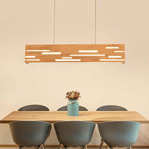 Luminaires suspendus Salle à manger Lustre Rectangulaire En Bois LED Éclairage Salon Lumière Chaude Étude Moderne Bureau Pendentif Lumière En Bois Pendentif Lumière