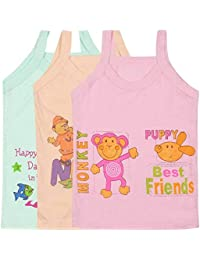 SIRTEX Kids Super-Soft 100% Cotton Multi-Color Slips/Camisole (Pack of 3)