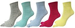 Double knit Self design Ankle thumb socks for Women in assorted colors(pack of 5)