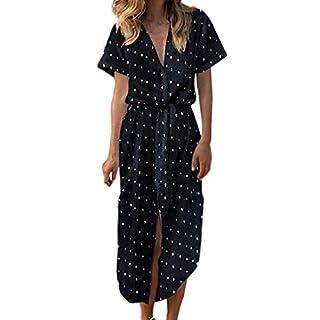 Gofodn Dresses for Women Summer Sexy Casual V Neck Short Sleeve Daily Bow Tie Dot Button Soild Beach Long Dress Black