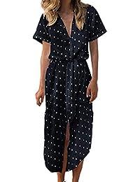 ReooLy Maxi Vestito Estivo da Donna Estivo con Vestitino a Pois Dots