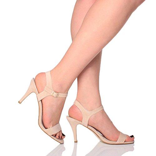 aca309520ee9 ... Femmes haute talon boucle fête élégant à lanières sandales chaussures  pointure Nude Beige Daim