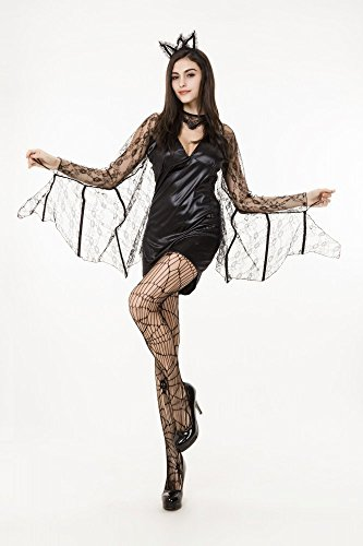 shoperama Damen-Kostüm SEXY FLEDERMAUS mit SPITZE Vampir Dracula Halloween, Größe:XS/S