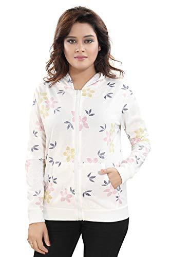TUCUTE® Fashionable White Beautiful Print Hoodie/Jacket/Zipper for Womens and Girls (Flower)
