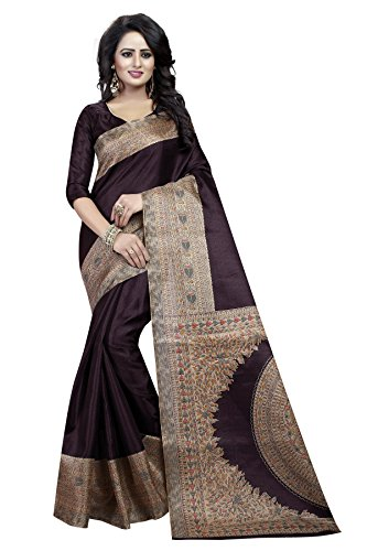 J B Fashion Women's with Blouse Piece Saree (H-saree for women-kalamkari_Coffee_Free Size)