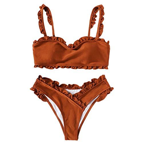 SHE.White Damen Spitze Schlauchoberseite Einfarbig Bandage Bikini-Set Brasilianisch Badebekleidung Strandkleidung ()