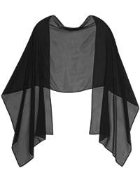 BLACK CHIFFON Wrap Stole Ideal for Evening Wear , Wedding , Parties , Bridesmaid , Bridal Wear or Bride or Prom proms (200cm *75cm, BLACK)