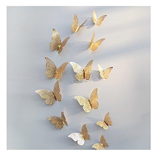 BakeLIN Wandaufkleber 3D PVC Schmetterlings Hohle DIY Hauptdekor Plakat Kind Raum Wand Dekoration Partei Hochzeits Dekor Wandtattoo Kühlschrank Aufkleber (Gold)