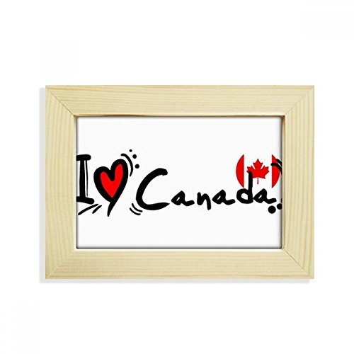 DIYthinker I Love Kanada Wort Flagge Herz Desktop Holz Bilderrahmen Art Malerei 12,7x 17,8cm