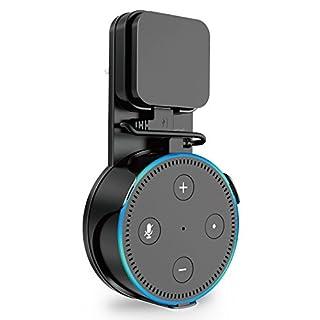 ProCase Outlet Wandhalterung Kleiderbügel für Amazon Echo Dot 2. Generation (2017 Version), keine unordentlichen Drähte oder Schrauben, kompakte platzsparende Halter Plug in Badezimmer Schlafzimmer und Küchen –Schwarz