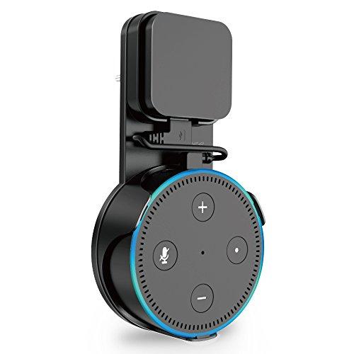 ProCase Auslauf Wandhalterung Ständer Halterung für Amazon Echo Dot 2nd Generation, Keine Unordentlichen Drähte oder Schrauben, Kompakte Platzsparende Halter Plug in Badezimmer Schlafzimmer und Küchen –Schwarz