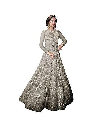 Jheel Fashion Designer grey net embroidery Work Semi-Stiched Anarkali Suit