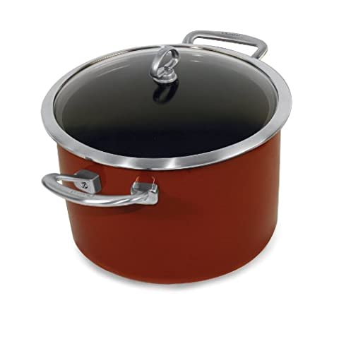 Chantal Copper Fusion 6-Quart Casserole with Glass Lid, Chili Red