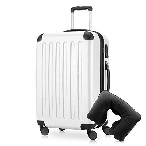Hauptstadtkoffer - Spree Hartschalen-Koffer Koffer Trolley Rollkoffer Reisekoffer Erweiterbar, 4 Rollen, TSA, 65 cm, 74 Liter, Weiss +Reise Nackenkissen -