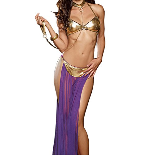 JJPUNK Sexy Dessous Indischer Tanz-Kostüm Reizwaesche Lingerie BH Rock Halsband String Set S-M Lila Gold (Kostüme Indischen Tanz)