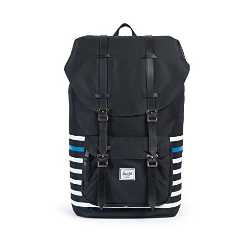 Herschel - Zaino Little America Offset Backpack - Black Offset Stripe/Black Veggie Tan Leather
