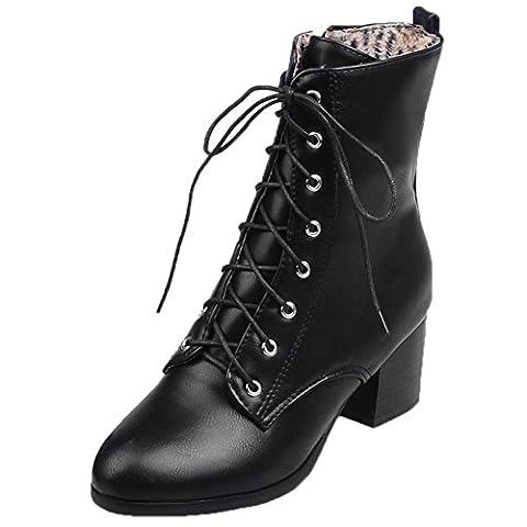 HooH Femmes Bottes de Martin Lacets Kitten Heel Combat Chunky Bottines Noir 35 EU