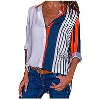 بلوزة نسائية طويلة الأكمام مخططة بأزرار سفلية من DressU (متعدد الألوان) AS16 US L=China XL