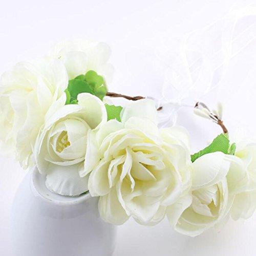 Preisvergleich Produktbild SUNRIZ Blumen Stirnband, Weiß Frauen Mädchen Blumen Kranz Krone Haarband Girlande Blumenkranz / Haarband / Blumenkrone / Haarschmuck,  für Party,  Hochzeit