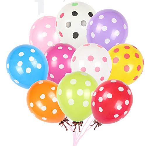 Houstory 100 pcs Polka Punkt Balloons, Latex Feier Hochzeit Punkt Muster Dekor Rund Ballons, Punkte Polka Dot Luftballons Partyballon Bunte Ballons für Geburtstagsfeiern, Party, Hochzeitsfeiern.