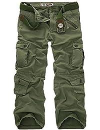 Miavogo Herren Cargo Hose Casual Freizeithose Lang Baumwolle (Ohne Gürtel) 7b89706b50
