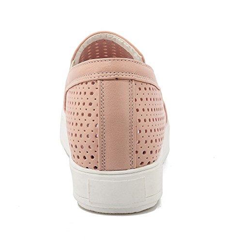 AllhqFashion Damen Ziehen Auf Rund Zehe Niedriger Absatz Rein Pumps Schuhe Pink