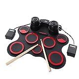 WanZhuanK Kit de batería electrónica Digital Profesional, Conjunto de 7 Tambores de silicio portátiles, Presente de cumpleaños de Instrumento de práctica USB,Red