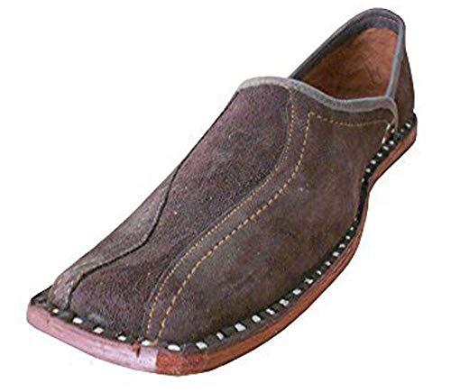 Tradicional de la India de la Kalra Creaciones Hombres mojaries Sweet Piel Loafer Flats, Color Marrón...