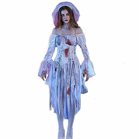 JYSPORT Halloween Kostüm Cosplay Fasching Kleid Damen Zombie Leiche Abendkleider Vampir Karneval Anime Outfit (Vampire Zombie-kostüme)