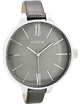 Oozoo Damenuhr mit Lederband 45 MM Grau/Silbergrau C8029
