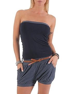 malito Jumpsuit kurz im Jeans-Look Uni-Farben 9640 Damen One Size