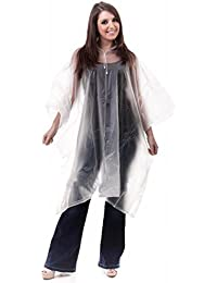 NEW ADULT UNISEX RAIN PONCHO CAPE HOODED REUSABLE CLEAR
