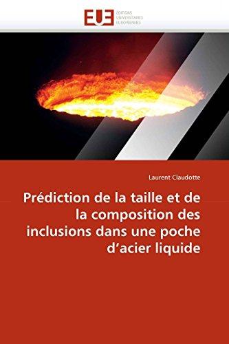 Prédiction de la taille et de la composition des inclusions dans une poche d''acier liquide par Laurent Claudotte