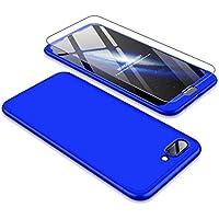 Huawei Honor 7A/Y6 2018 Hülle JINICHANGWU 360° Rundumschutz-Schale mit Gratis Panzerglas Anti-Kratzer Handyhülle Schutzhülle Case (Blau)