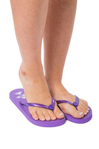 Flip Flops For Women Ladies Summer Beach Pool Shoes Palm Tree Pattern (Small (UK 3-4), Purple)