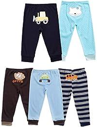 Monvecle Unisex Beb¨¦ 5 Pack Reci¨¦n Nacidos de Algod¨n Ni?o Largo Pantalones y Pantalones Cortos Set de Regalo