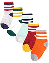 5 Pairs Toddler Boy Socks 6-12 Months,2 to 3 Years 8 Years Kids Socks Infants Baby Boys Girls Assorted Socks Set