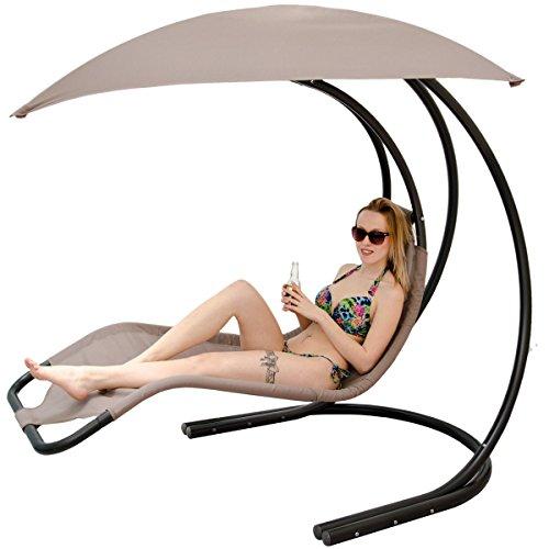 Luxus Designer Schwebeliege inkl. Sonnendach mit Metallgestell | Hängeliege Schwingsessel Hängestuhl | Moderne Hängeschaukel Relaxliege mit Kopfkissen | Garten Sonnen Liege für Innen und Außenbereich
