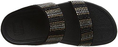 Fitflop Flare Strobe Slide Sandals, Sandali Punta Aperta Donna Black (Black)