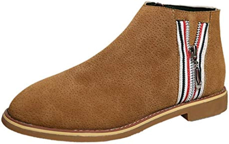 Zapatos Mujer,Moda Vintage Mujeres Tobillo Botines Zapatos Planos de Cuero Suave Zapatos de Bota cómodos