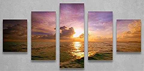 OBELLA New Top Wall Art Canvas Prints 5 Pieces || Sunset Waves || Modern Contemporary Posters Oil Paintings Prints and Pictures Photo Image Wall Art Prints on Canvas Painting for Home Bedroom Living Room Wall Decor Christmas Gifts Decoration - Frameless