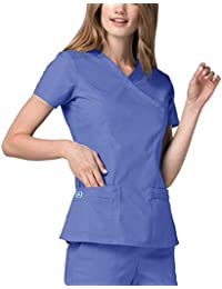Universal Women's Double Stitched Large Pocket Mock Wrap Scrub Top
